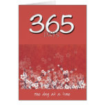 365 Days Sober Clean Red Flowers Birthday Card
