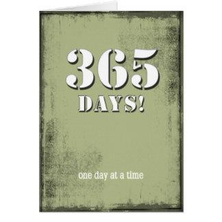 365 días limpian la tarjeta de cumpleaños sobria