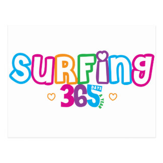 365 practicando surf tarjeta postal