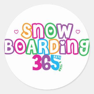365 Snow Boarding Round Stickers