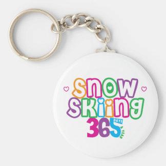 365 Snow Skiing Basic Round Button Keychain