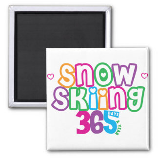 365 Snow Skiing 2 Inch Square Magnet
