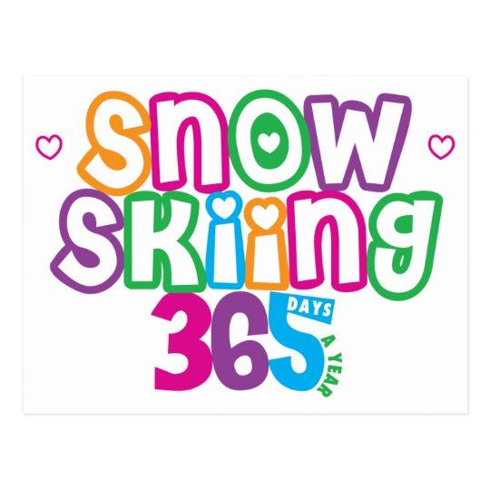 365 Snow Skiing Postcard