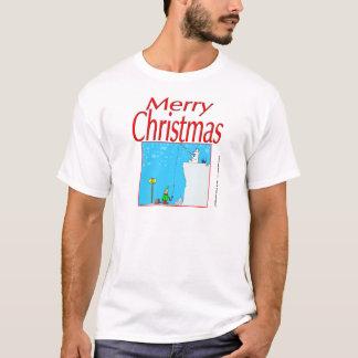 366 Merry Christmas polar bear fishing for elf T-Shirt