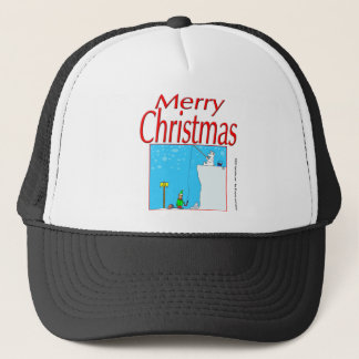 366 Merry Christmas polar bear fishing for elf Trucker Hat