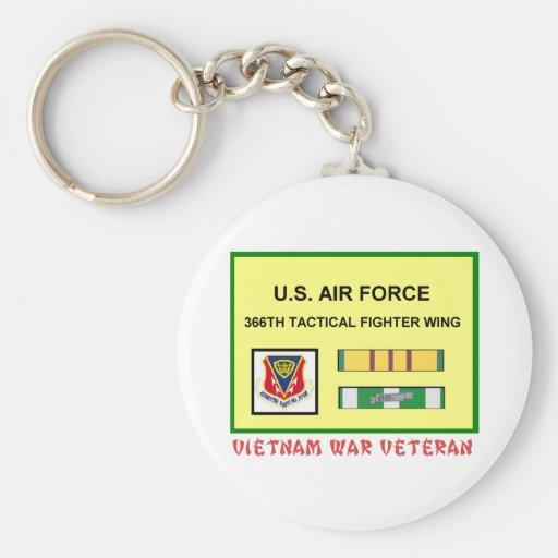 366TH TACTICAL FIGHTER WING VIETNAM WAR VET BASIC ROUND BUTTON KEYCHAIN