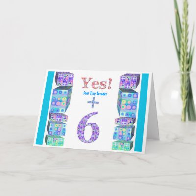 36 46 56 66 76 86 96 Years Young! Happy Birthday Card by JaclinArt. Fun birthday card - Teeny tiny decades plus two years. Suitable for a 42nd, 52nd, 62nd,