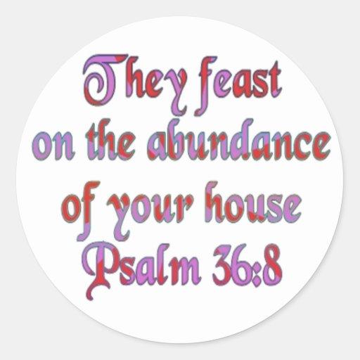 36:8 del salmo pegatina redonda