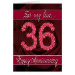 36.a tarjeta del aniversario con los rosas y las h
