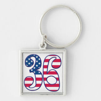 36 Age USA Silver-Colored Square Keychain
