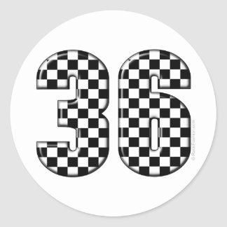 36 auto racing number sticker