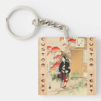36 Examples of Beauties, Tea ceremony Toshikata Double-Sided Square Acrylic Keychain