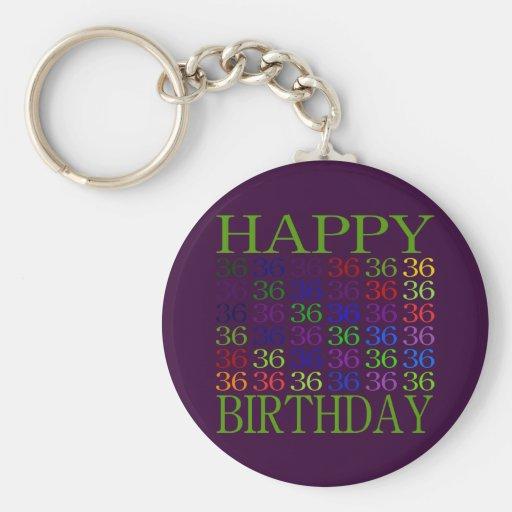36.o cumpleaños feliz llavero redondo tipo pin