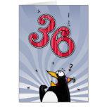 36.o cumpleaños - tarjeta de la sorpresa del pingü