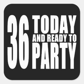 36.o Fiestas de cumpleaños: 36 hoy y aliste para Pegatinas Cuadradases