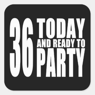 36.o Fiestas de cumpleaños: 36 hoy y aliste para Colcomanias Cuadradas Personalizadas