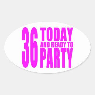 36.os cumpleaños de los chicas: 36 hoy y aliste calcomanía de oval personalizadas