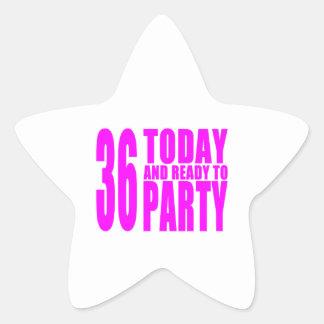 36.os cumpleaños de los chicas: 36 hoy y aliste pegatina forma de estrella personalizada