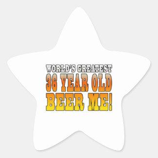36.os cumpleaños divertidos: Años más grandes de Calcomanias Forma De Estrella