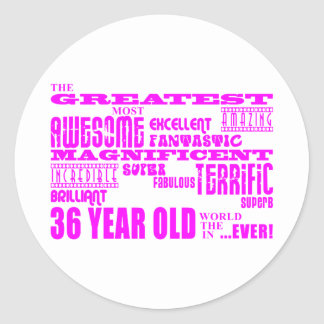36.os cumpleaños treinta y seis más grande rosado pegatinas redondas