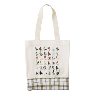 36 Pigeon Breeds Zazzle HEART Tote Bag