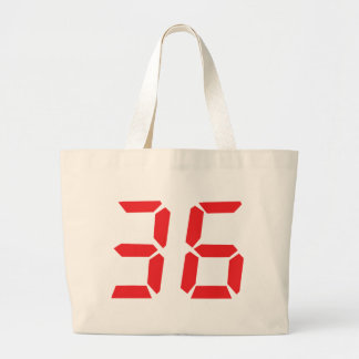 36 thirty-six red alarm clock digital numbr large tote bag