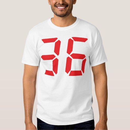 36 treinta y seis numbr digitales del despertador remera