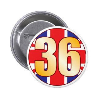 36 UK Gold Pinback Button
