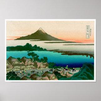 36 vistas del monte Fuji, vintage fino de Hokusai Póster