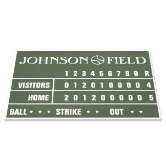 """36"""" x 24"""" Baseball Scoreboard Wrapped Canvas Stretched Canvas Prints"""