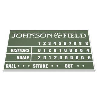 "36"" x 24"" Baseball Scoreboard Wrapped Canvas Canvas Print"