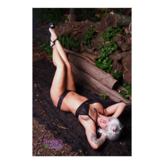 """36"""" x 24"""" Chrissy Kittens Black Heels In The Woods Poster"""