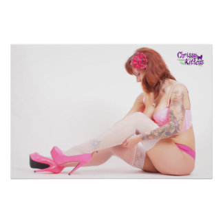 """36"""" x 24"""" Chrissy Kittens Checking My Stockings Poster"""