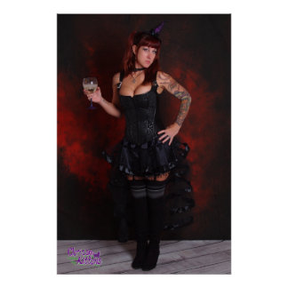"""36"""" x 24"""" Chrissy Kittens Purple Witch Hat Poster"""