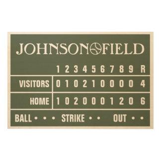 """36"""" x 24"""" Personalized Baseball Scoreboard Wood Wall Art"""