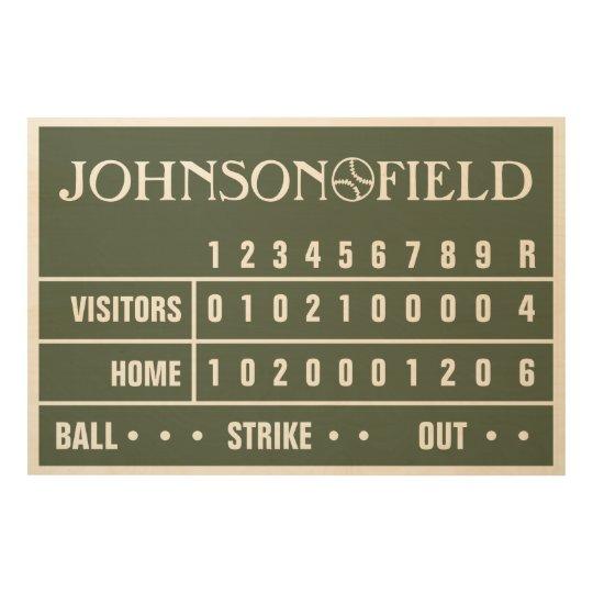 """36"""" x 24"""" Personalized Baseball Scoreboard Wood Wall Art ..."""