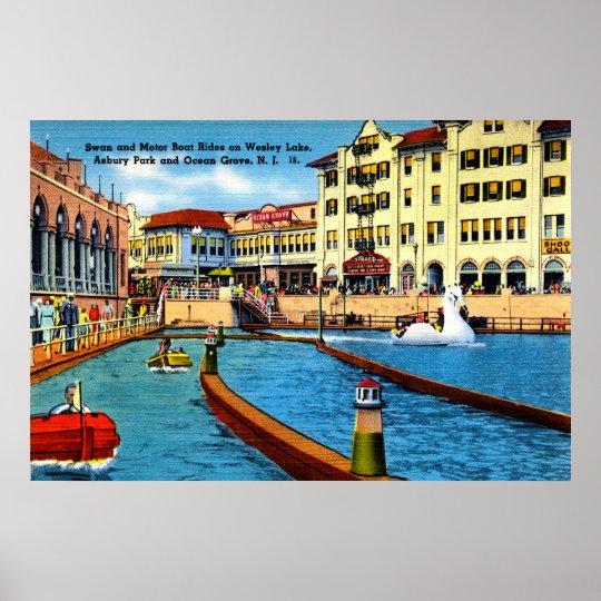 36 X 24 Swan And Motor Boat Rides Asbury Park Nj Poster