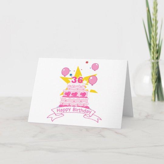 36 Year Old Birthday Cake Card