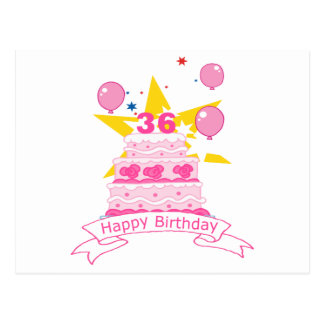 36 Year Old Birthday Cake Postcard