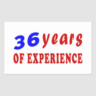 36 years of experience rectangle stickers