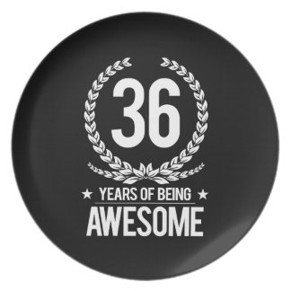 36th Birthday (36 Years Of Being Awesome) Dinner Plate