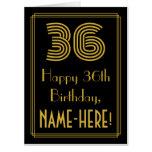 "[ Thumbnail: 36th Birthday: Art Deco Inspired Look ""36"" + Name Card ]"