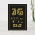 "[ Thumbnail: 36th Birthday: Art Deco Inspired Look ""36"" & Name Card ]"