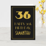 "[ Thumbnail: 36th Birthday ~ Art Deco Inspired Look ""36"" & Name Card ]"