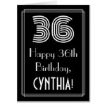 "[ Thumbnail: 36th Birthday — Art Deco Inspired Look ""36"" + Name Card ]"