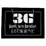 "[ Thumbnail: 36th Birthday ~ Art Deco Inspired Look ""36"" + Name Gift Bag ]"