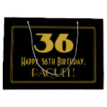 "[ Thumbnail: 36th Birthday — Art Deco Inspired Look ""36"" & Name Gift Bag ]"