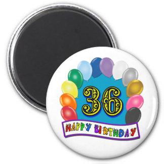 36th Birthday Balloons Design 2 Inch Round Magnet