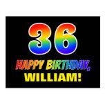 [ Thumbnail: 36th Birthday: Bold, Fun, Simple, Rainbow 36 Postcard ]