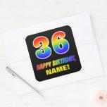 [ Thumbnail: 36th Birthday: Bold, Fun, Simple, Rainbow 36 Sticker ]